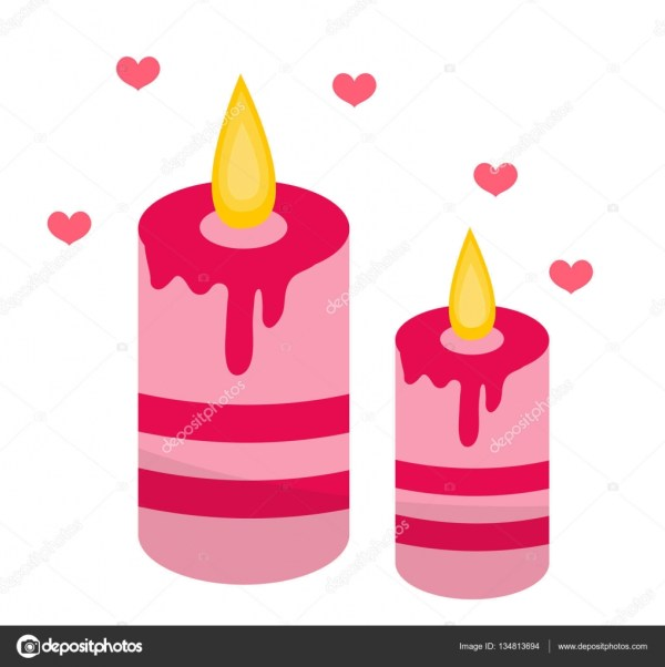 romantic candles with hearts icon