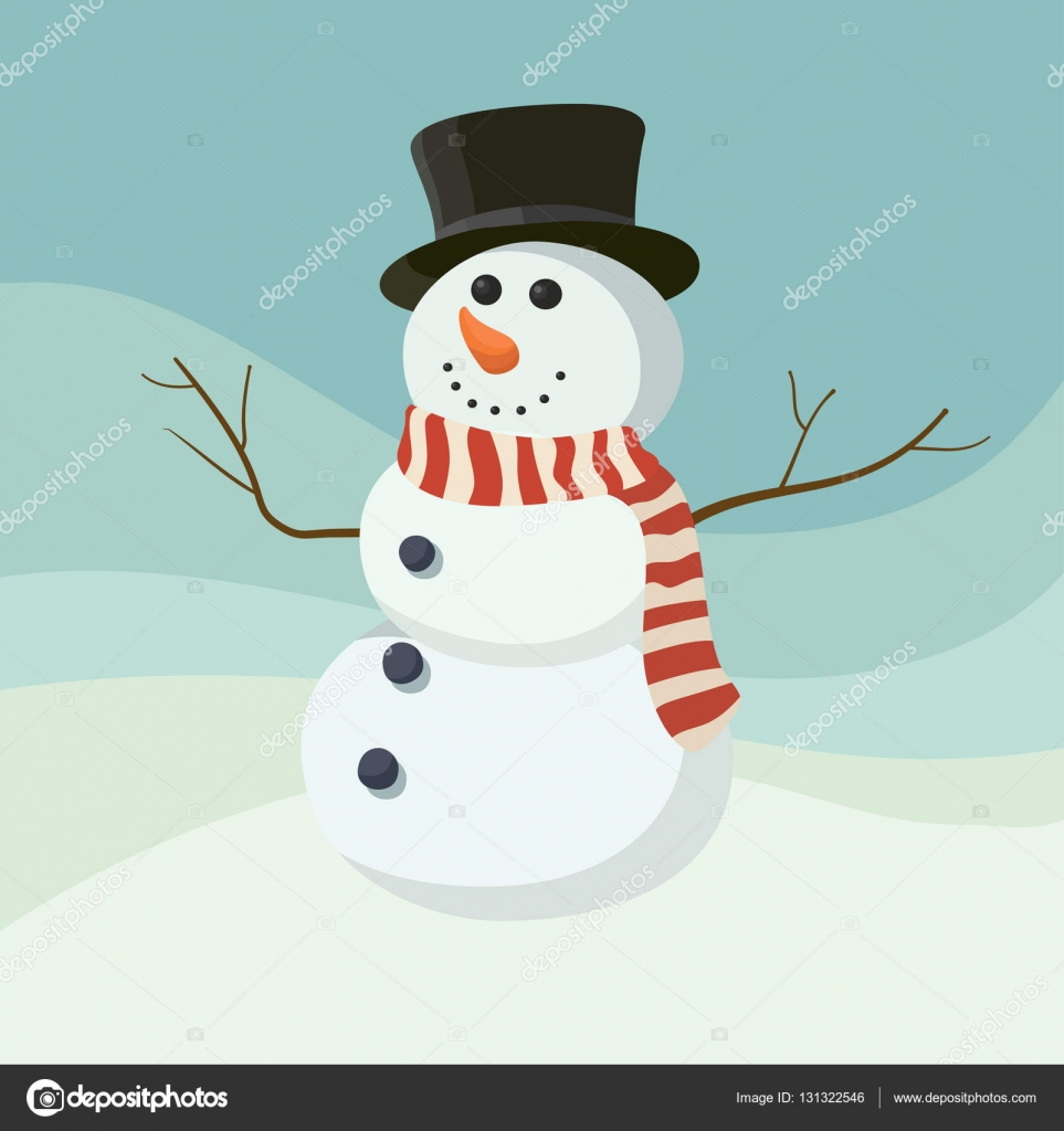 Snowman Vector Icon Flat Helper Snowman Icon Face Smile