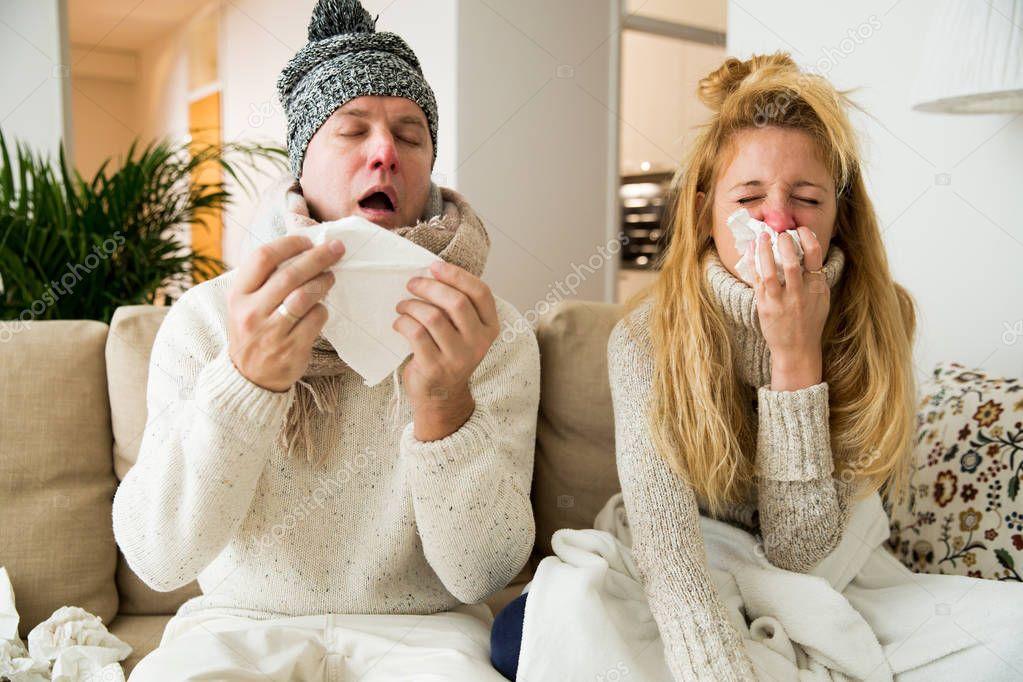 sick people sneezing stock