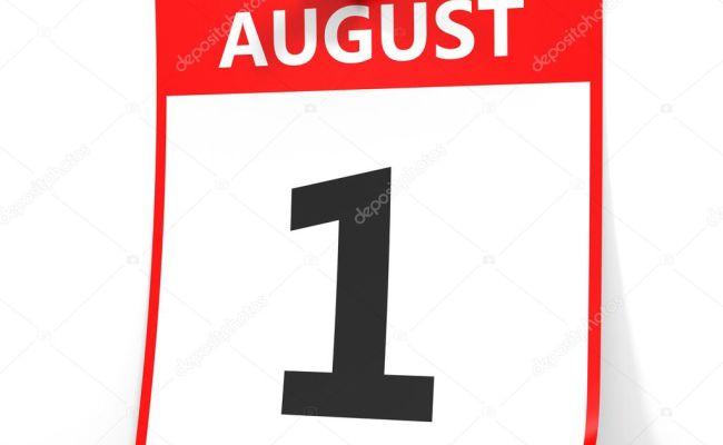 1 De Agosto Calendario Sobre Fondo Blanco Fotos De