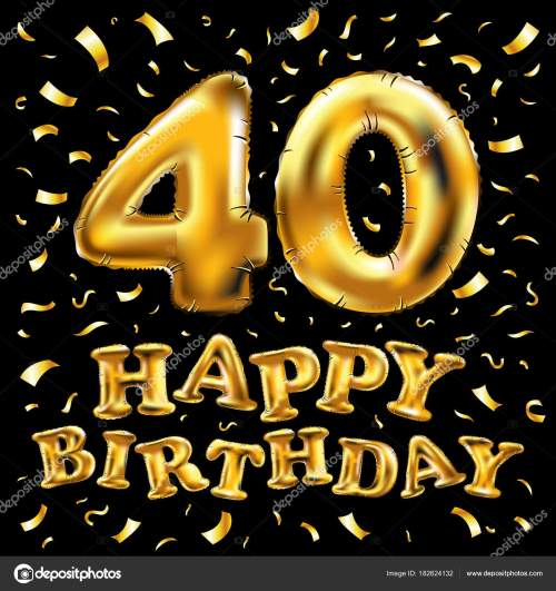 small resolution of 40th birthday celebration with gold balloons and colorful confetti glitters 3d illustration design for your
