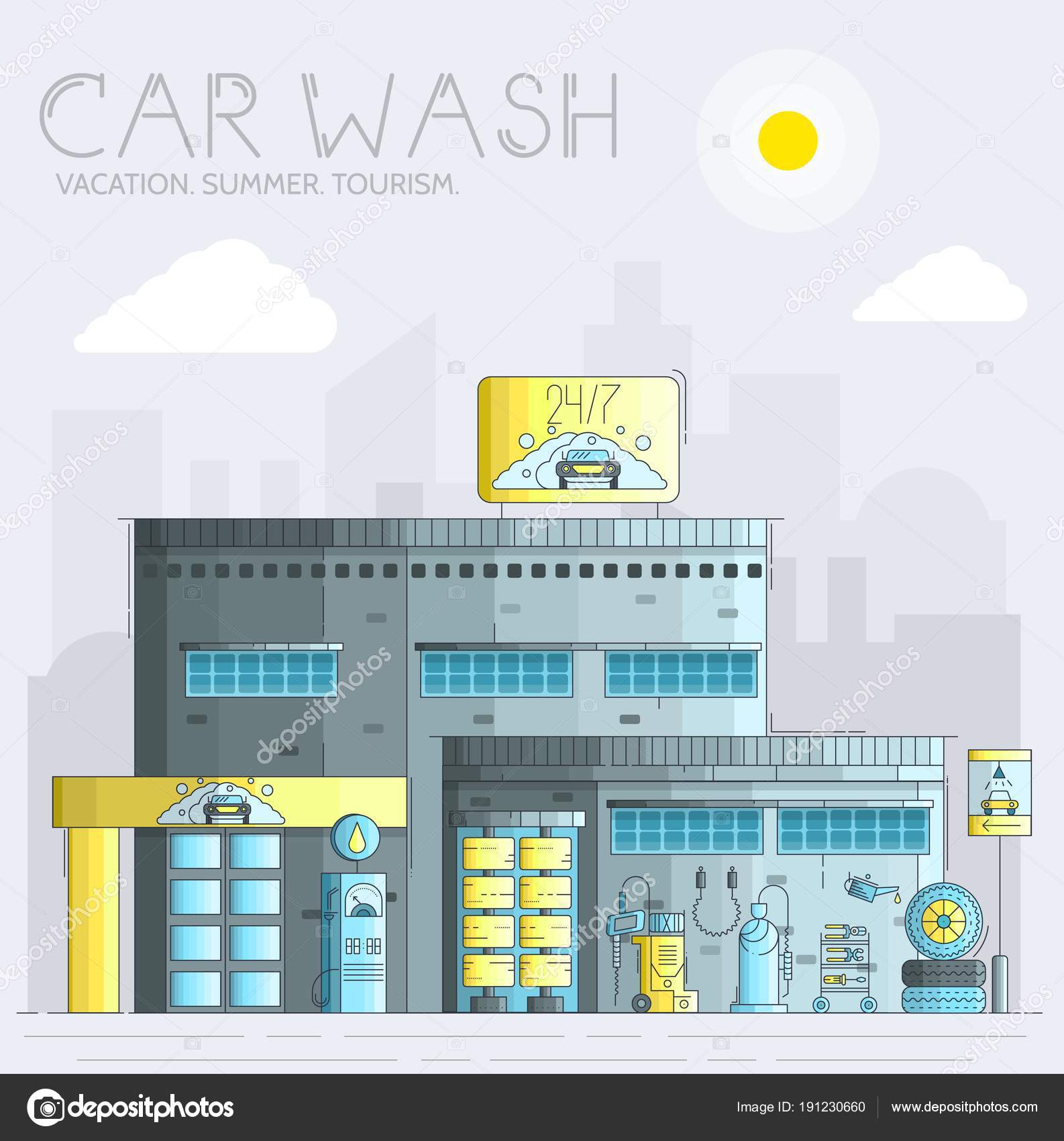 hight resolution of thin line working car wash with different equipment tool concept flat outline car wash service