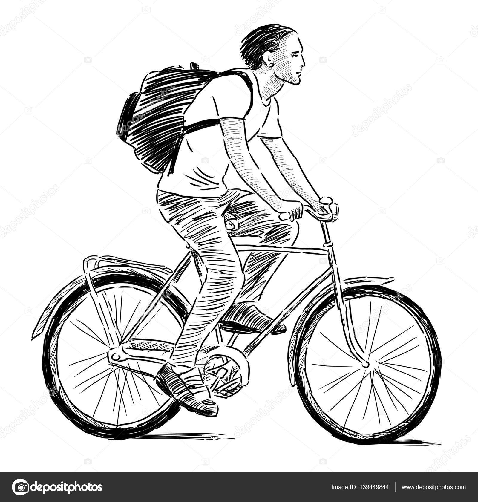 Hand Drawing Of A Young Man Riding A Bicycle