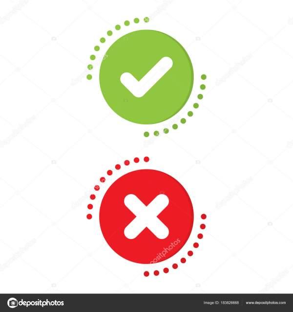 Marca De Verificaci Verde Rojo X Bien El Mal. Concepto Icono Vector
