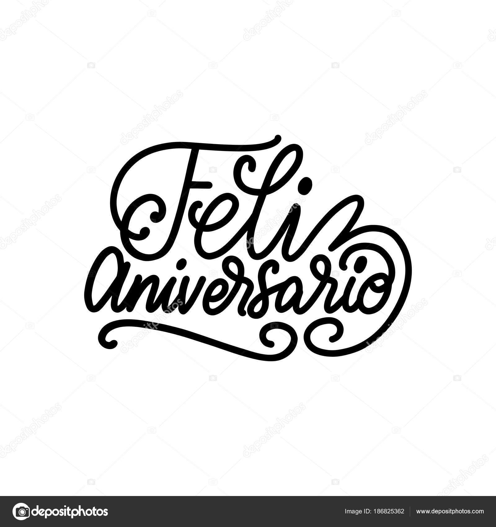 Traduzido Espanhol Manuscrita Frase Feliz Aniversário
