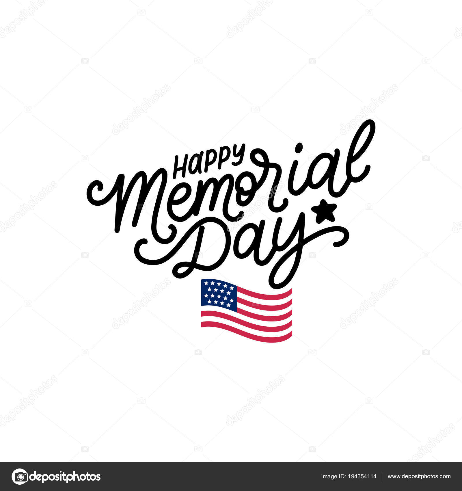Happy Memorial Day Handwritten Phrase Vector National
