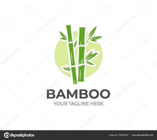 Bamboo Logo Template Green Trees Vector Design