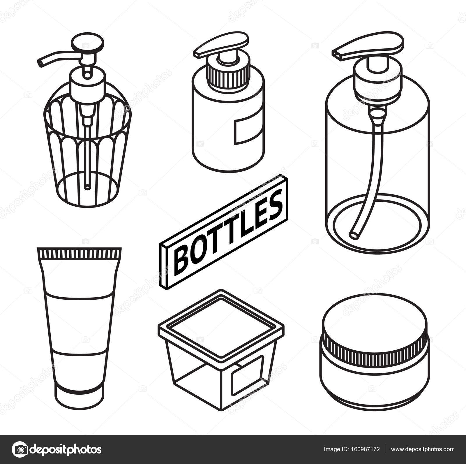 Set Of Line Style Cosmetics For Skin Care Icons Of Cosmetic Bottles And Package Bottles For
