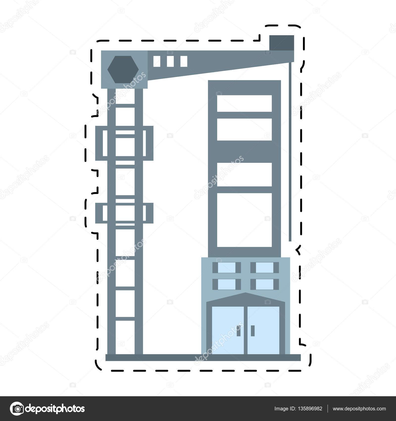 Aufzug Bau Gebäudestruktur Schnittlinie — Stockvektor © Djv #135896982