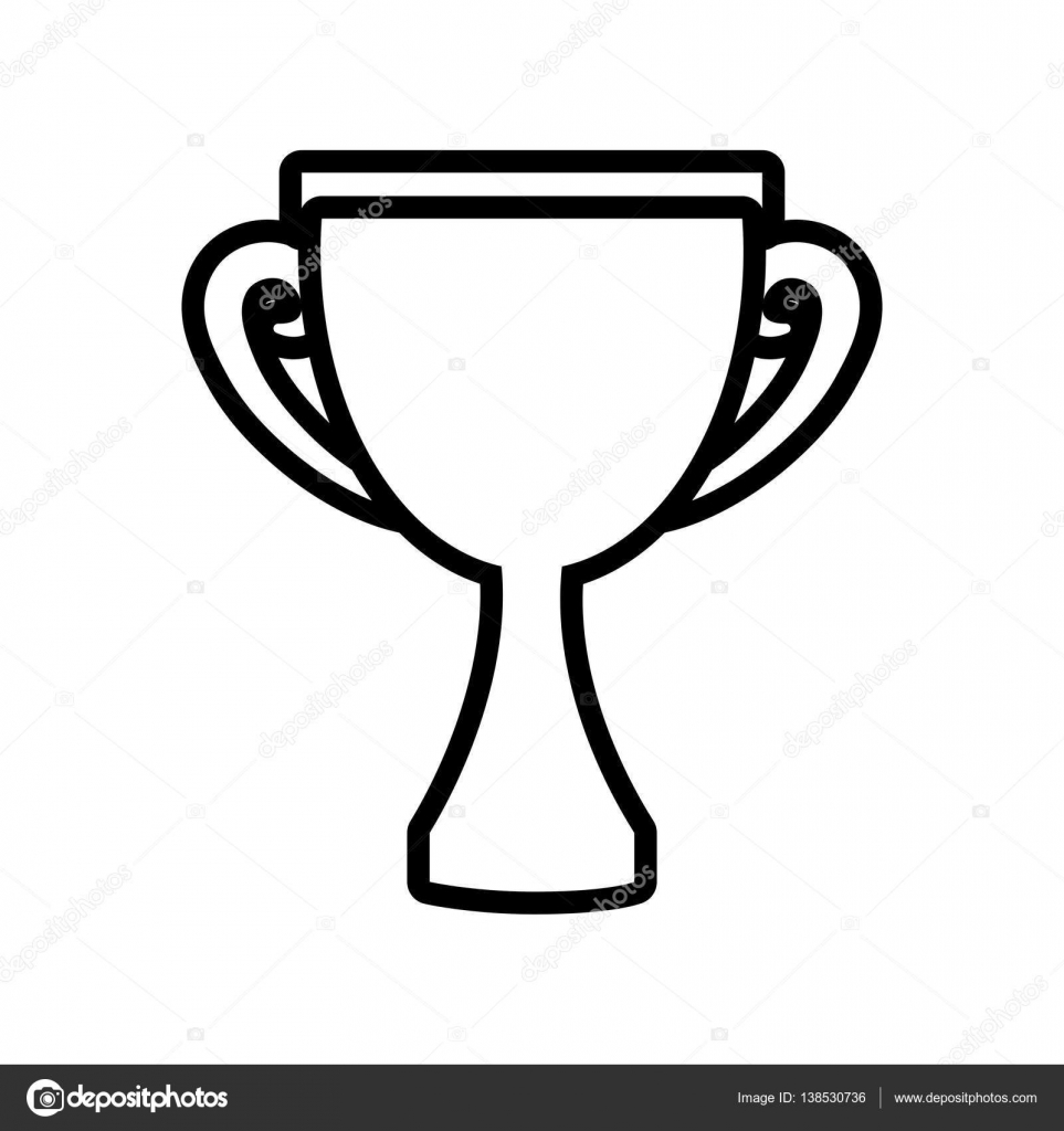 Trophy award competition champion outline — Stock Vector