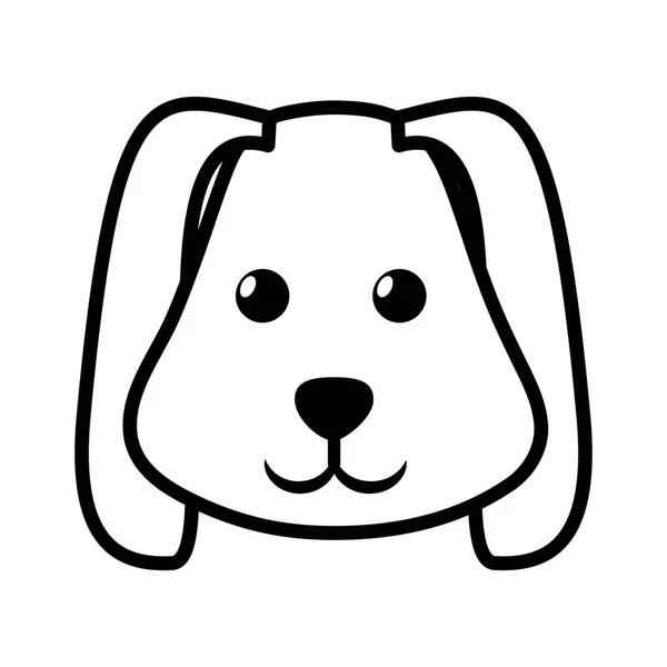 face dog animal pet ear long outline — Stock Vector © djv