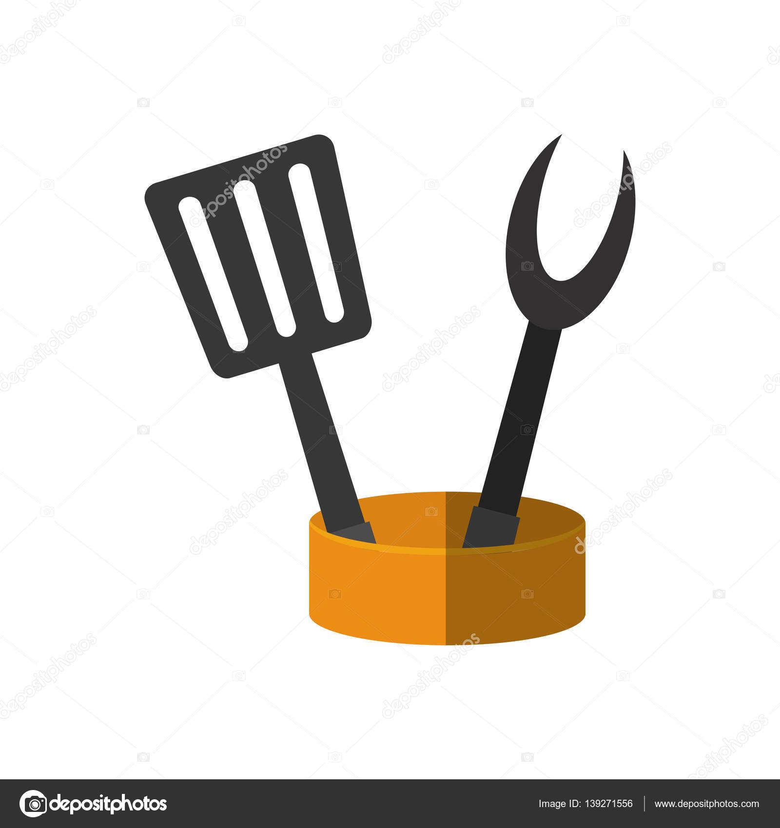 kitchen spatula unfinished discount cabinets 抹刀和叉烧烤容器用具厨房 图库矢量图像 c djv 139271556 图库矢量图片