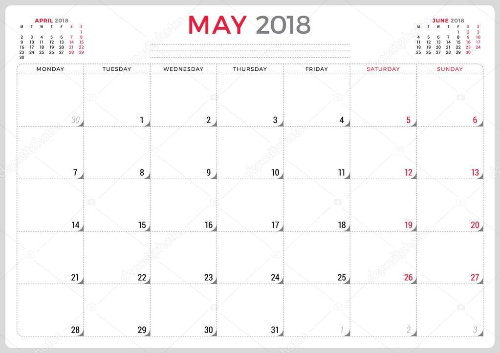 May 2018. Calendar planner design template. Week starts on