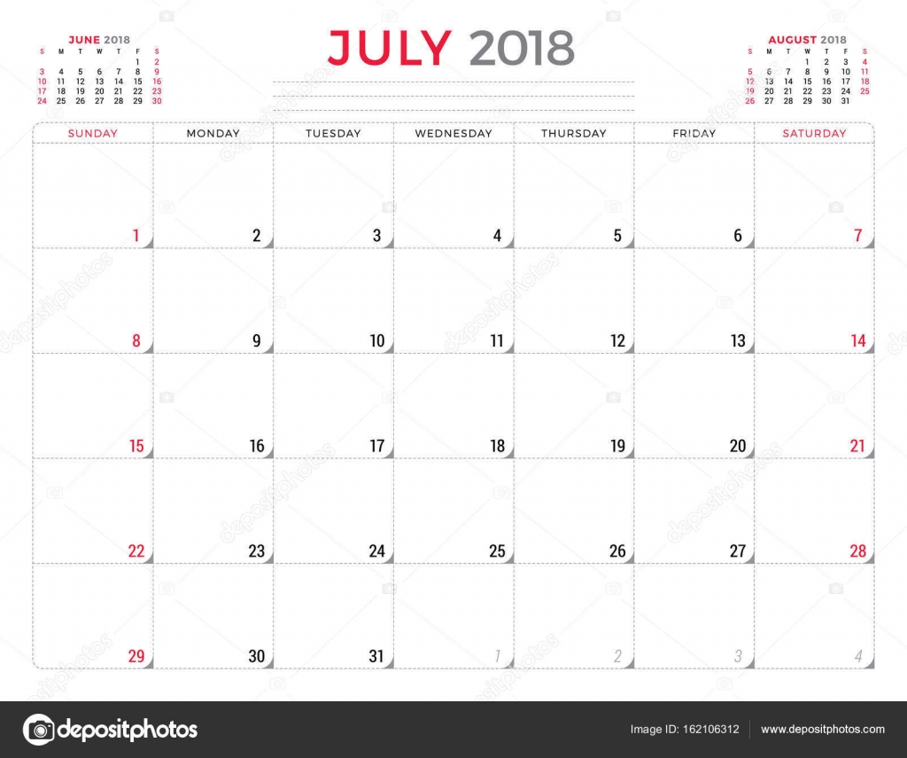 July 2018. Calendar planner design template. Week starts