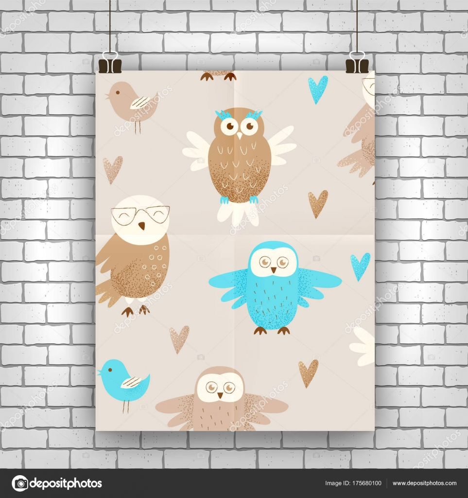 Cute Owl Decor Cute Owls Hand Drawn Design Concept Celebration Decor Stock