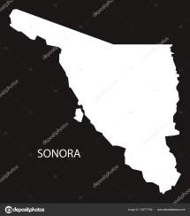 Mapa De Sonora Mexico Negro Invertido Silueta Archivo