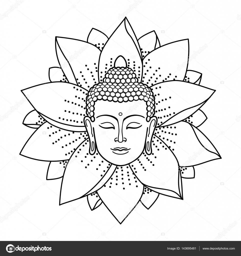 Buddha Kopf Vorlage - Vorlagen zum Ausmalen gratis ausdrucken