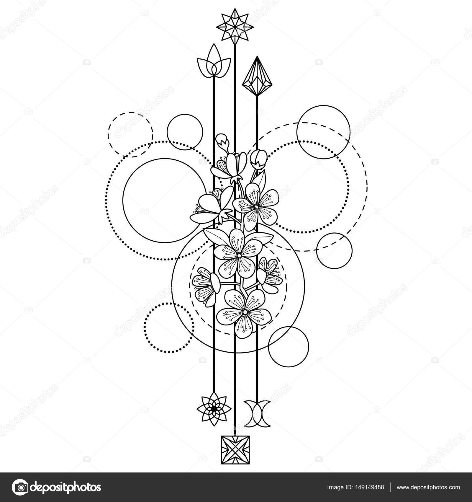 Tatuaje De Flores De Cerezo Archivo Imágenes Vectoriales