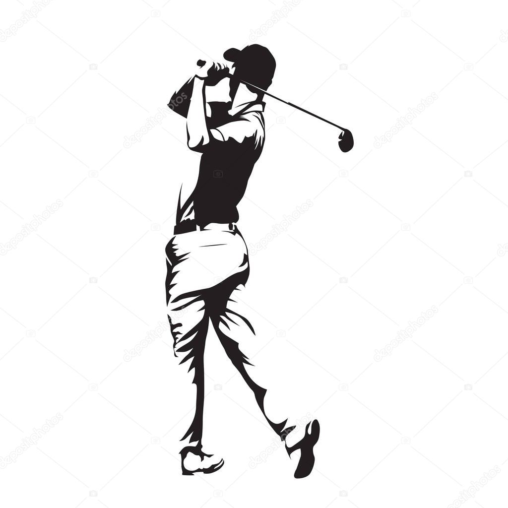 Golf Player Abstract Vector Silhouette