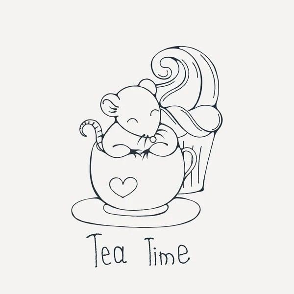 Illustration with cute rat in a cup of tea or coffee with