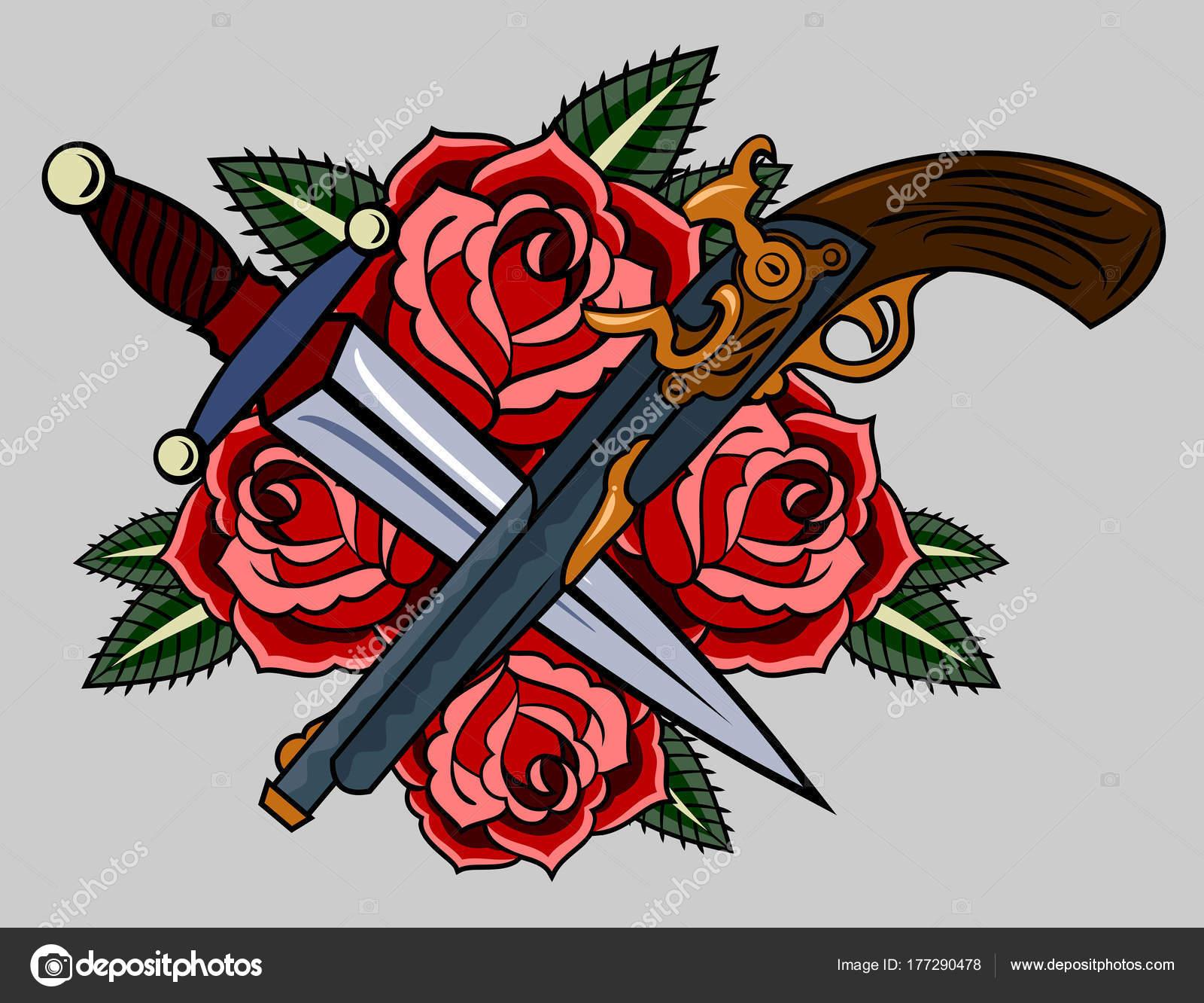 Revólveres Rosas Rojas Estilo Tatuaje Old School Vector De Stock