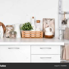 White Kitchen Bench Design Cabinets Vintage Painted Ladder Various Utensils Stock Photo