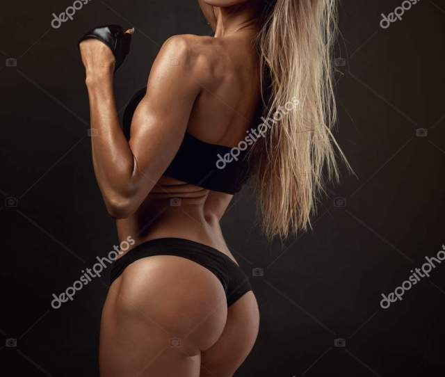 Nice Sexy Fitness Woman Showing Buttocks Back Posing Stock Photo