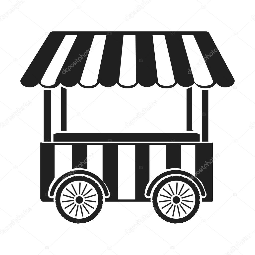 Snack Cart Icon In Black Style Isolated On White