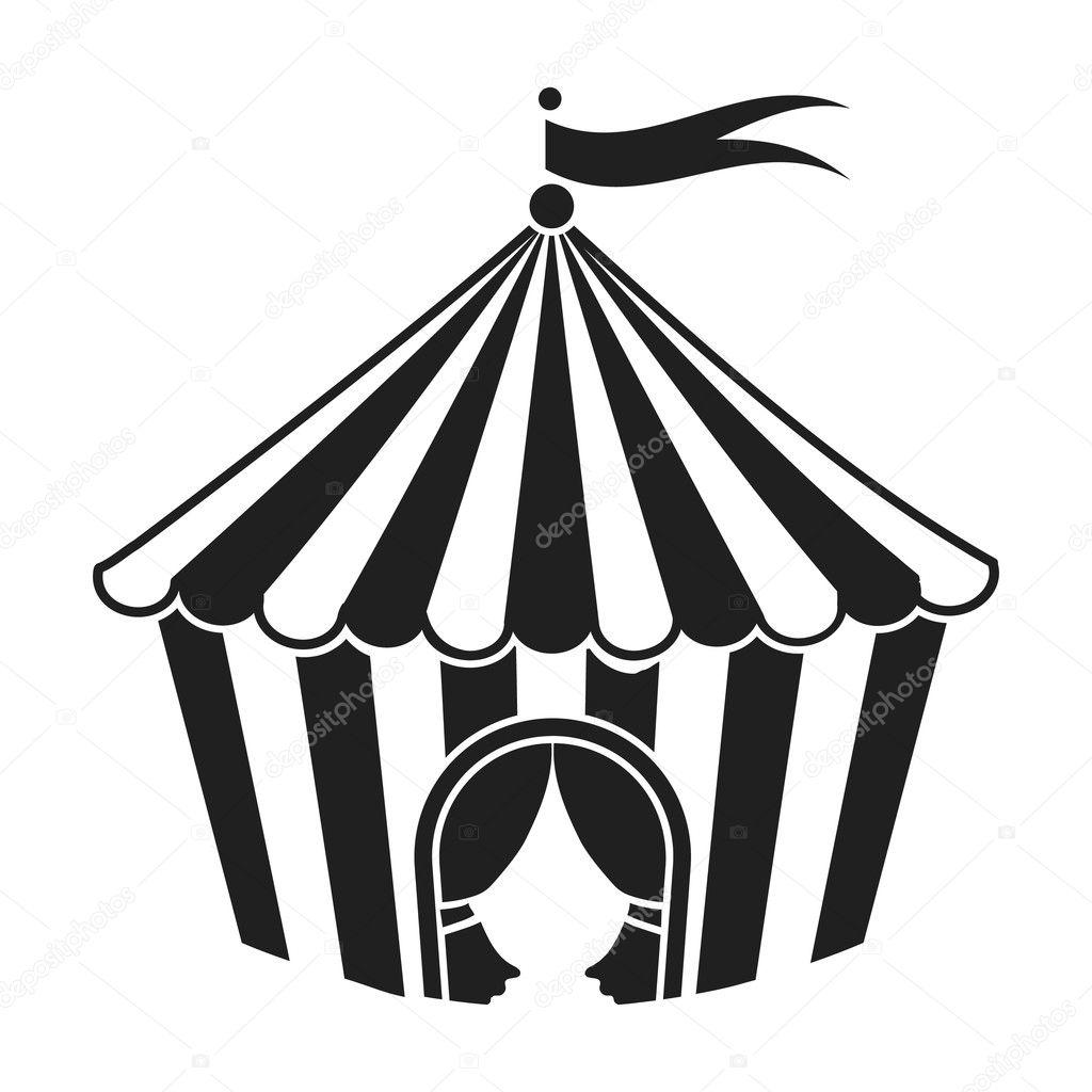 Circus Tent Pictogram In Zwarte Stijl Geisoleerd Op Een