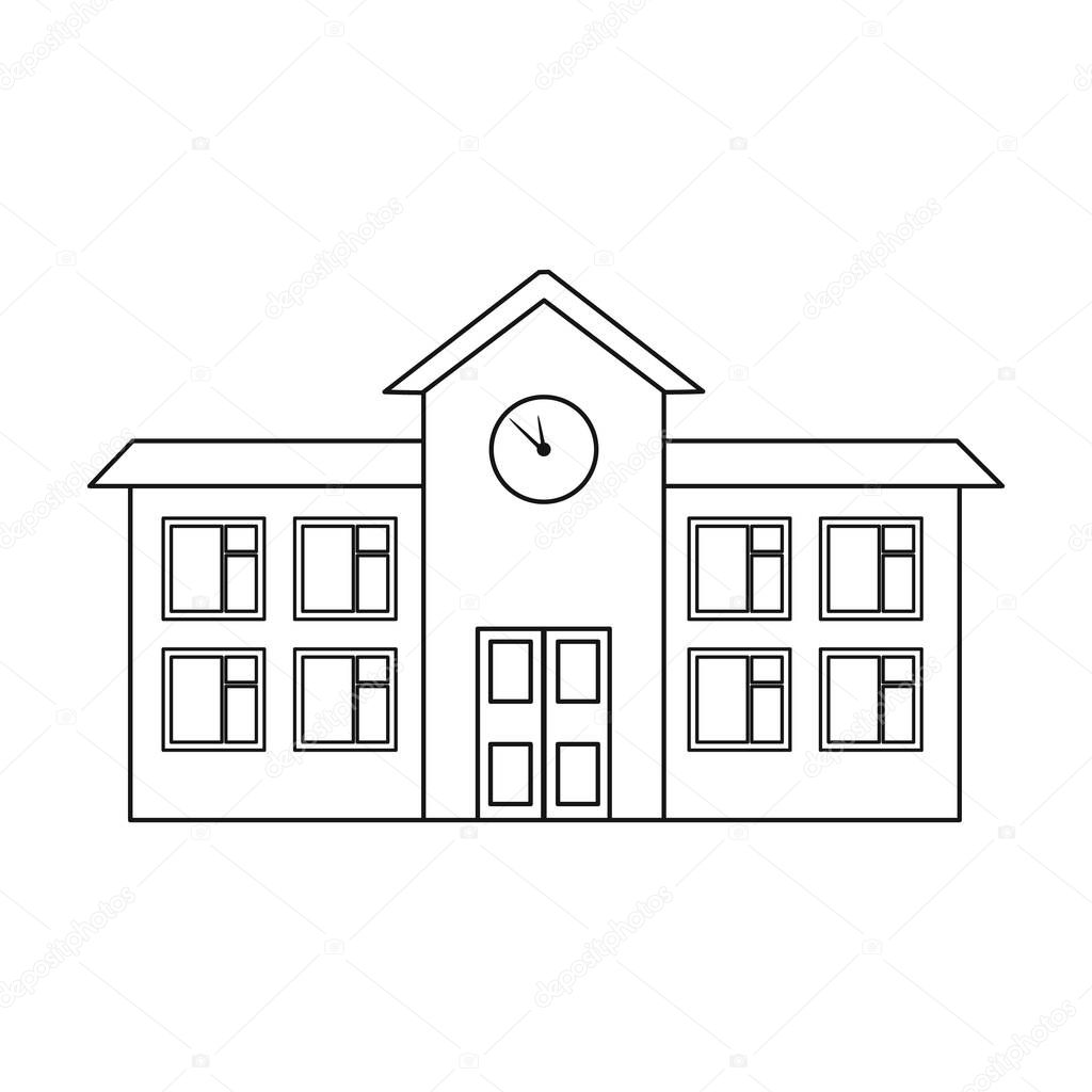 School icon in outline style isolated on white background