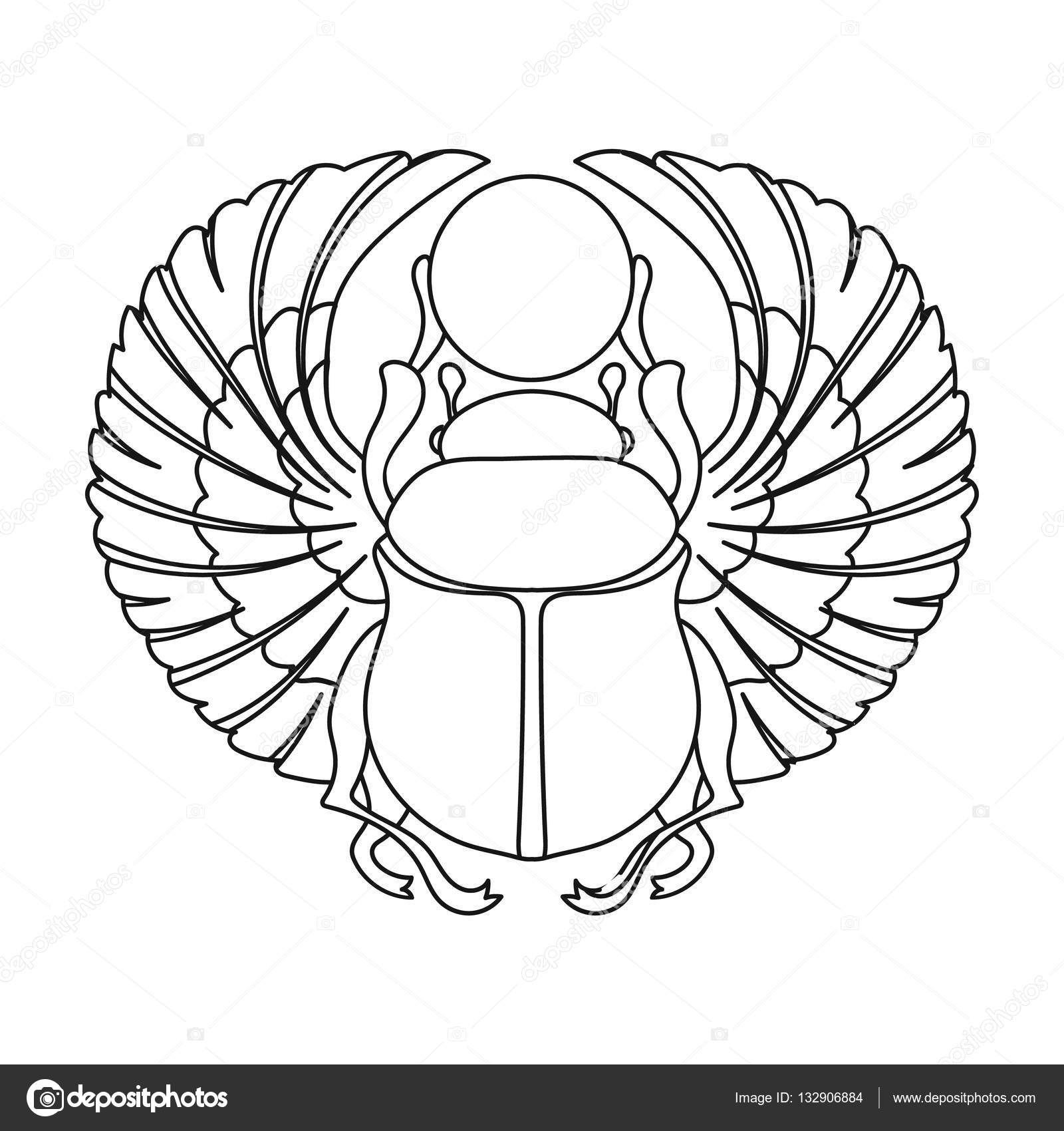 Scarab Icon In Outline Style Isolated On White Background