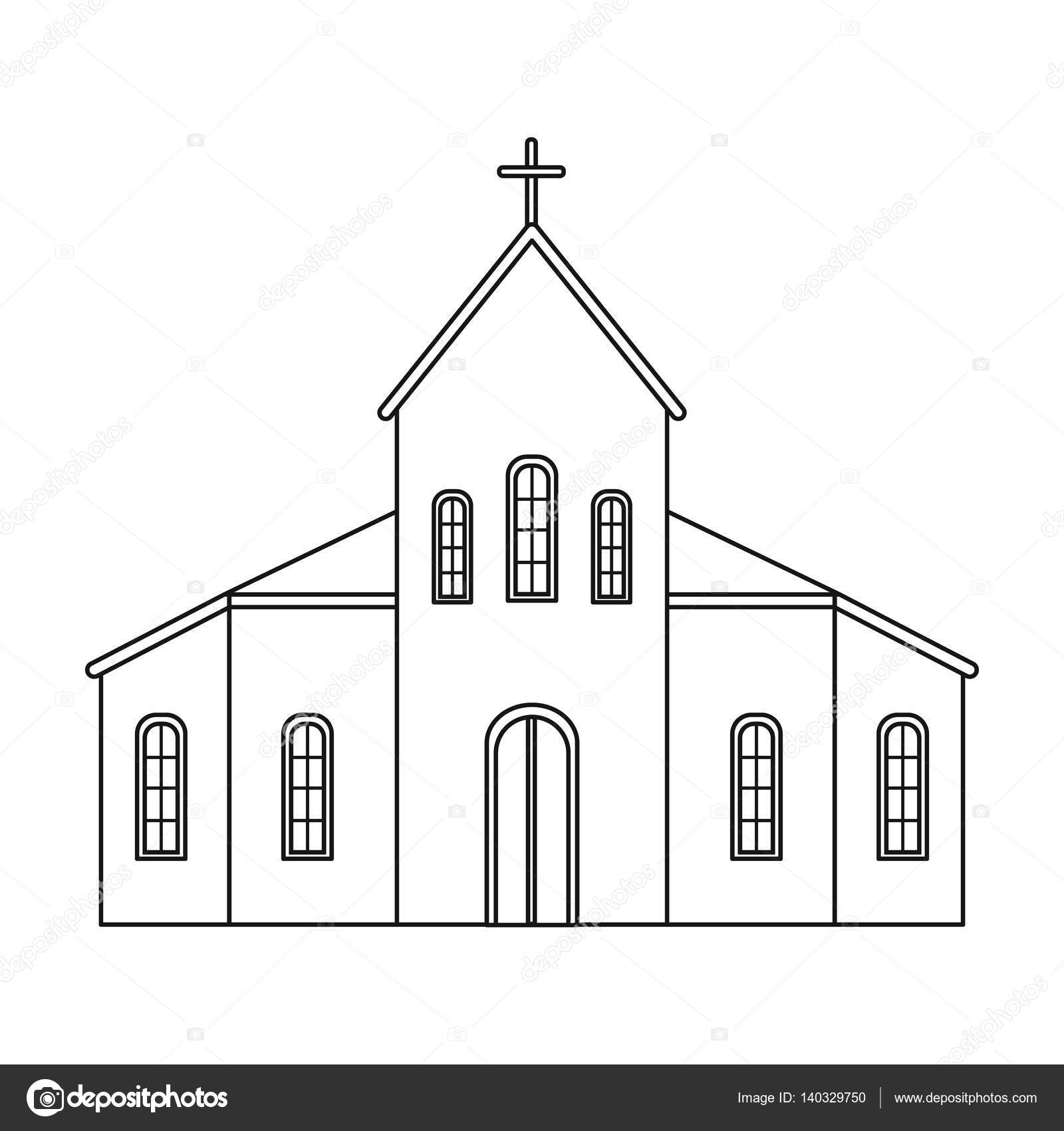 Church icon in outline style isolated on white background