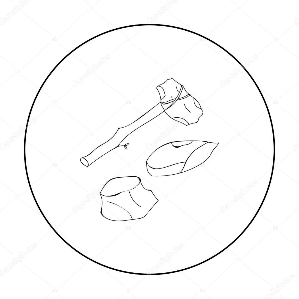 Stone tools icon in outline style isolated on white