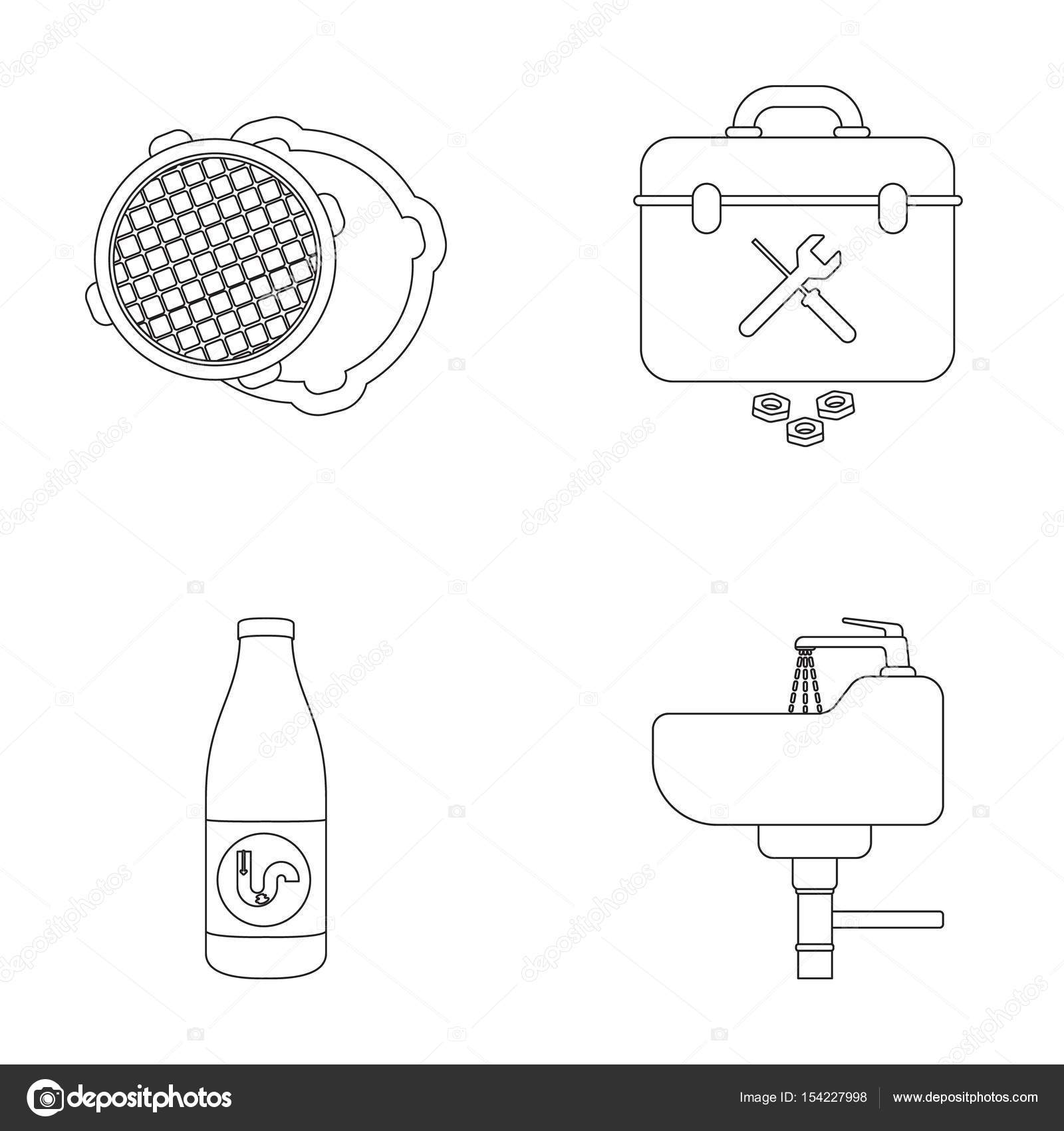 hight resolution of a sewer hatch a tool box a wash basin and other equipment plumbing set collection icons in outline style vector symbol stock illustration