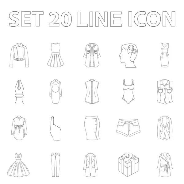 Kvinnor kläder disposition ikoner i set samling för design