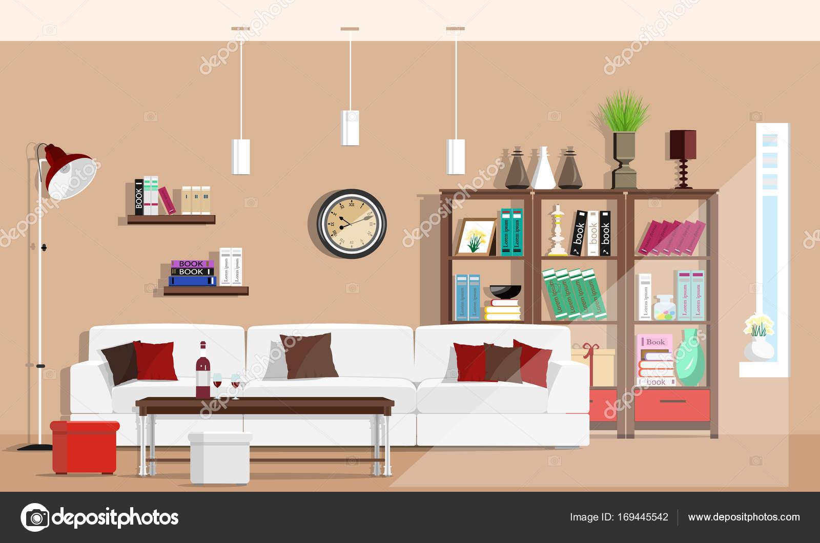 Cool grafische woonkamer interieur met meubels Bank