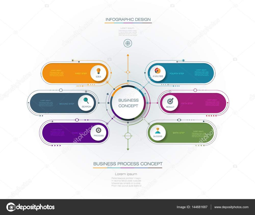medium resolution of vector infographic template with 3d paper label integrated circles business concept with options for content diagram flow chart steps parts