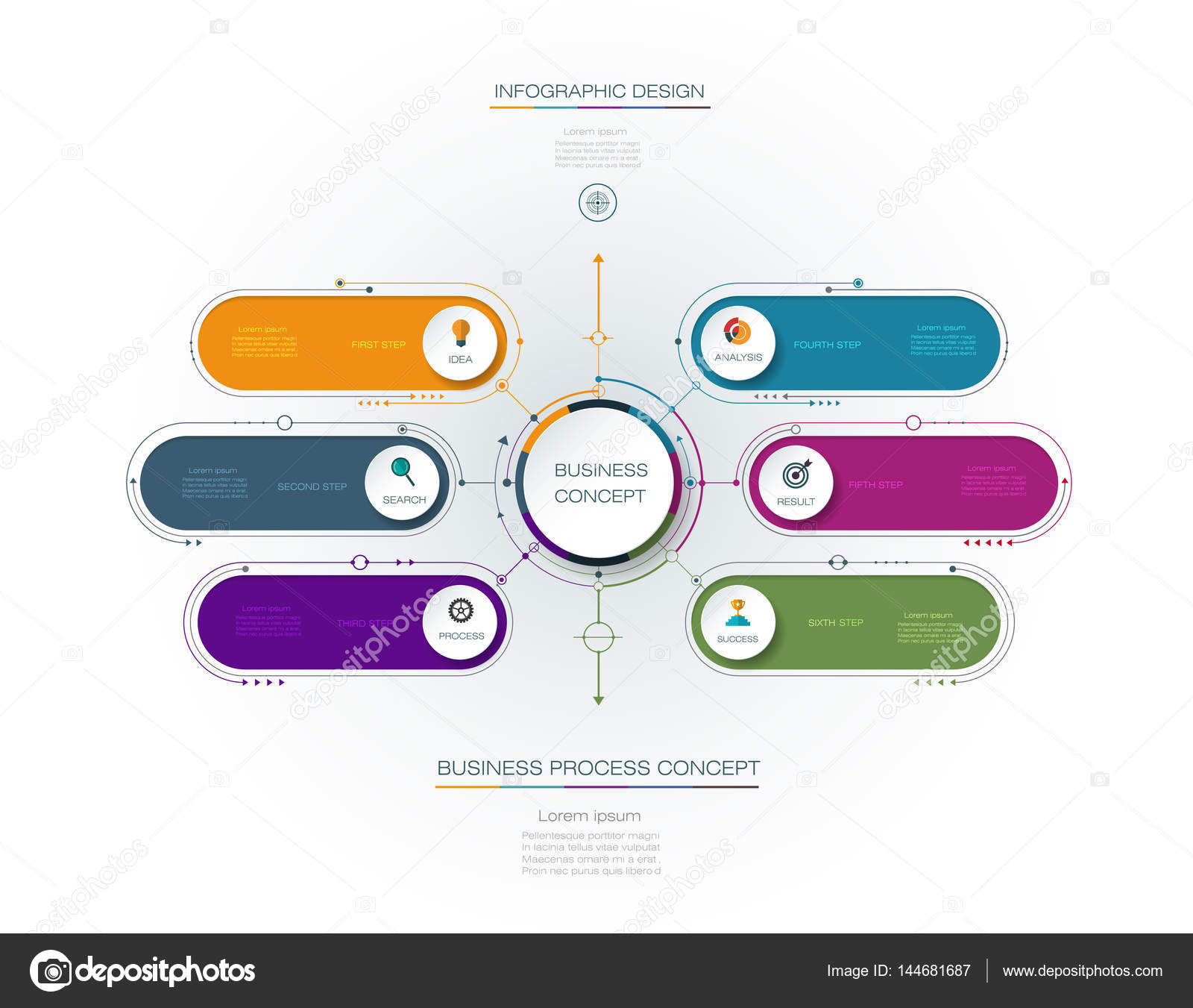 hight resolution of vector infographic template with 3d paper label integrated circles business concept with options for content diagram flow chart steps parts