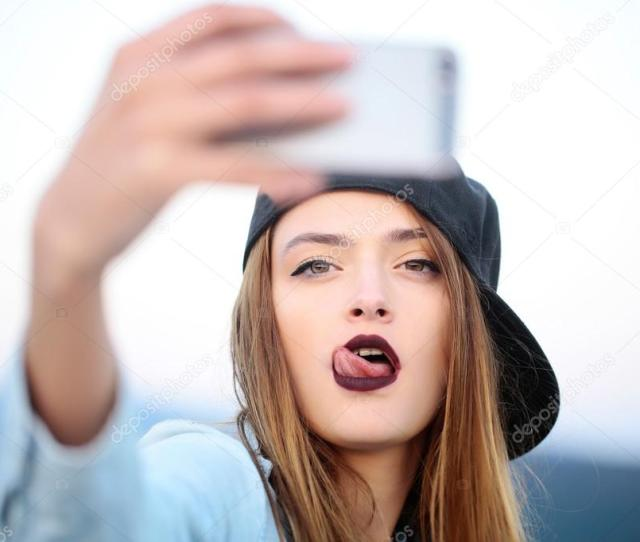 Young Sexy Girl Making Selfie Stock Photo