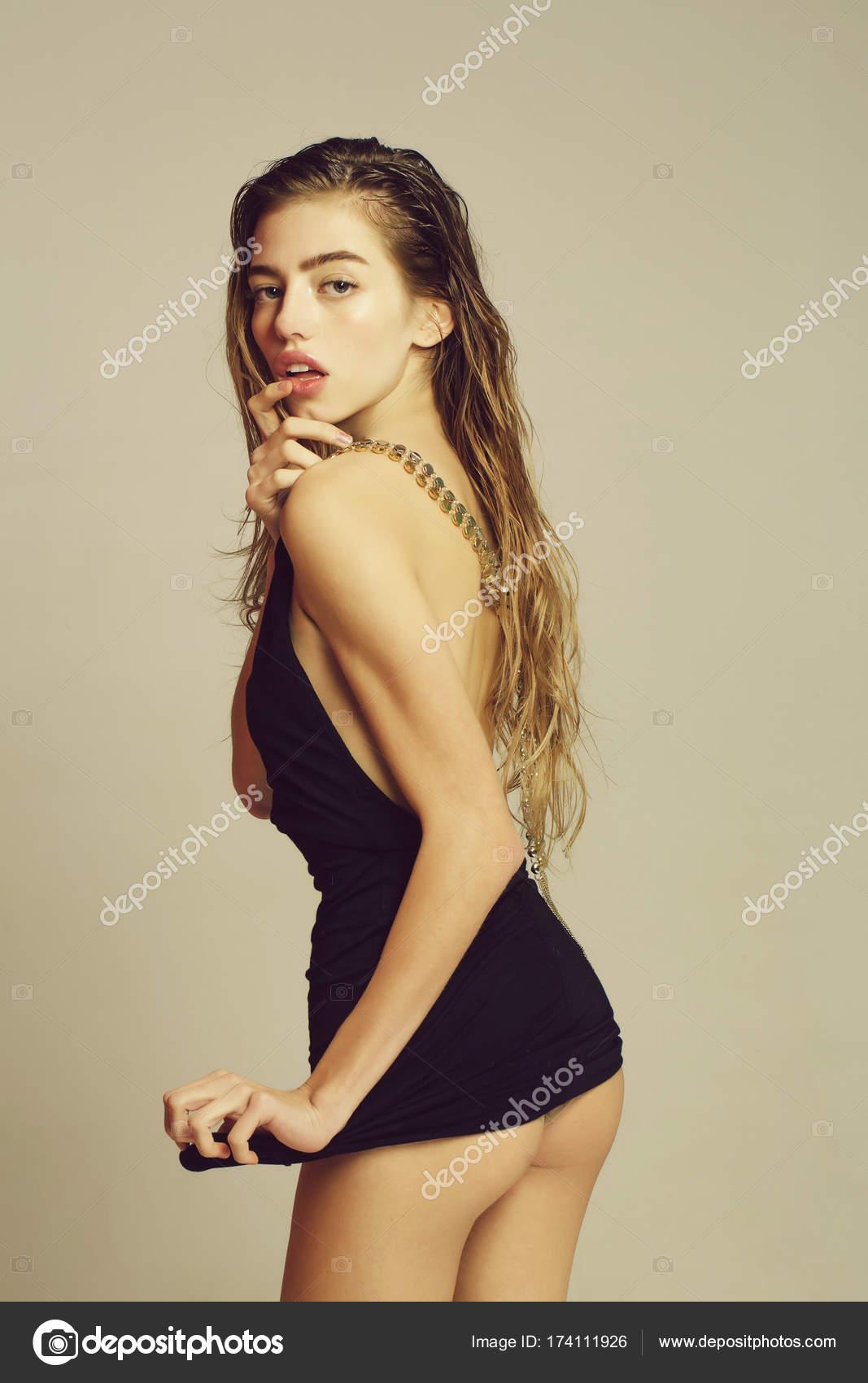 Pretty girl in short dress  Stock Photo  Tverdohlibcom