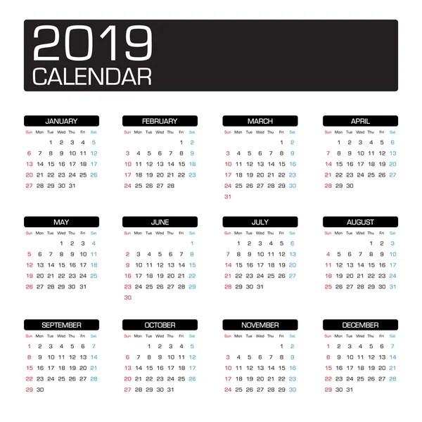 Szablon kalendarza 2019 — Grafika wektorowa © 123sasha