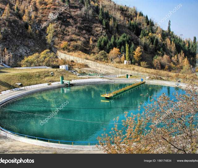 Water Reservoir For The Medeo Or Medeu Outdoor Speed Skating And Bandy Rink Located In A Mountain Valley On The South Eastern Outskirts Of Almaty