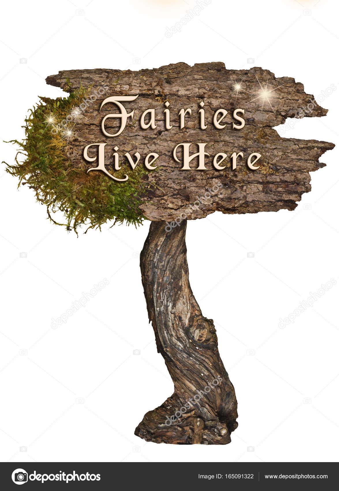 Im Alter Von Natürlichen Holz Schild Mit Buchstaben Feen Leben Hier