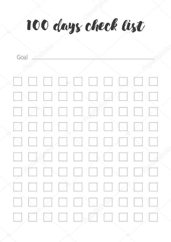 100 days Check List template — Stock Vector