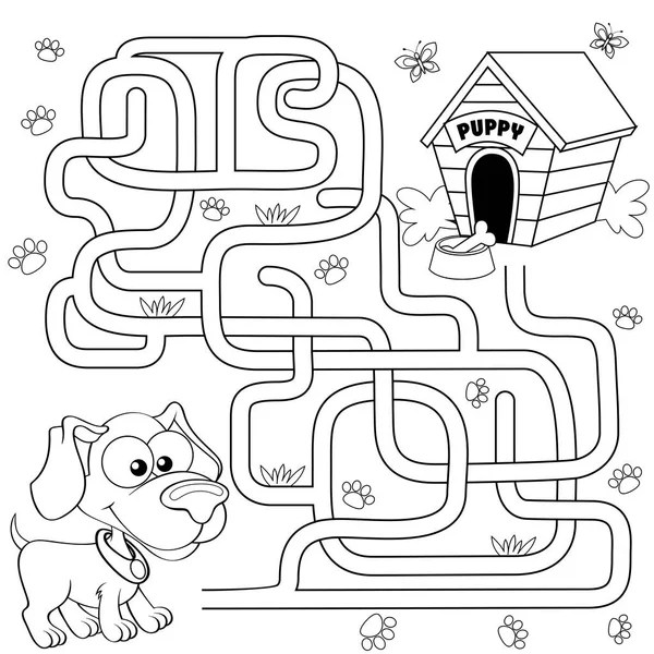 Coloring Page Outline Of cute puppy. Cartoon joyful dog