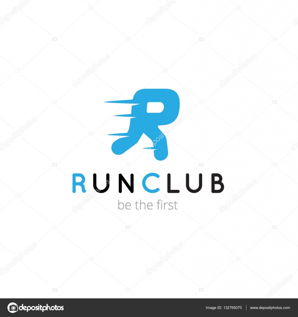 R letter creative running club logo. Vector abstract sport