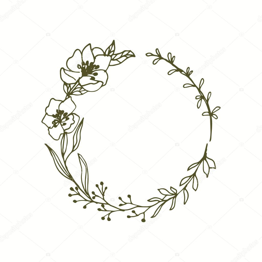 Floral Monogram Wreath Line Art Flowers Leaves  Stock