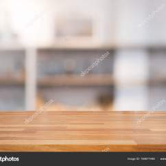 Wood Table Kitchen Tile Flooring 空木桌和现代厨房背景与架子 图库照片 C Pannawat 184677448