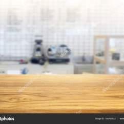 Kitchen Tops Wood Kohler Cast Iron Sink 美丽的空木桌和白色现代厨房咖啡馆backg 图库照片 C Pannawat 185753922