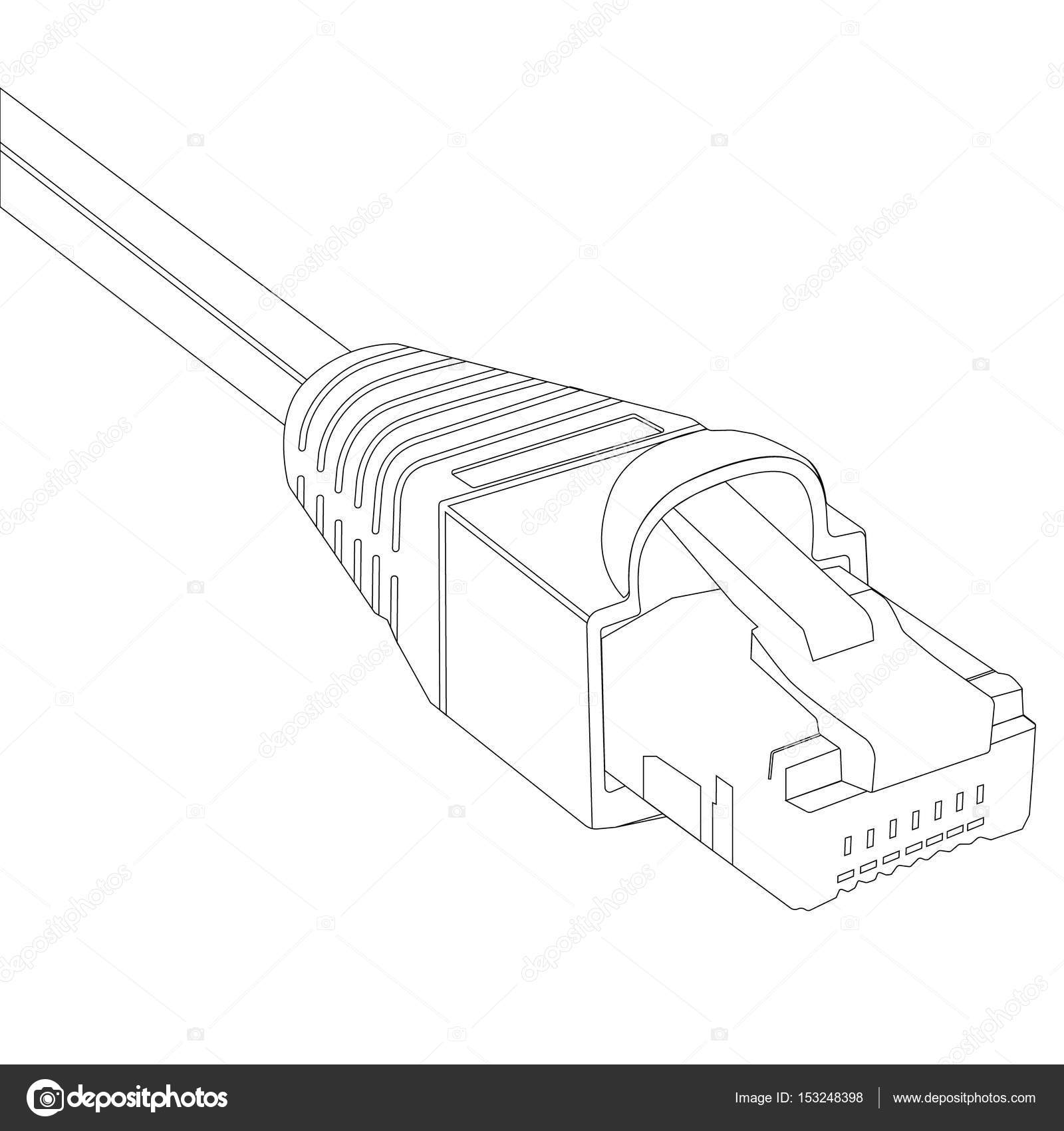hight resolution of raster illustration outline drawing ethernet network cable cable icon ethernet connector for mobile apps web sites photo by viktorijareut